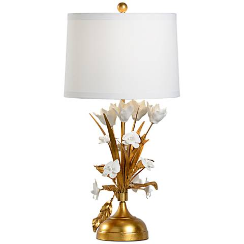 Wildwood French Flower Gold Leaf and White Table Lamp