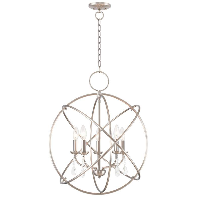 "Aria 22"" Wide Brushed Nickel 5-Light Chandelier"