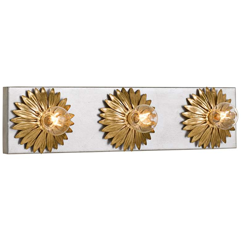 """Broche 18"""" Wide Gold and Antique Silver 3-Light Bath Light"""