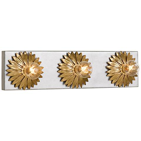 "Broche 18"" Wide Gold and Antique Silver 3-Light Bath Light"