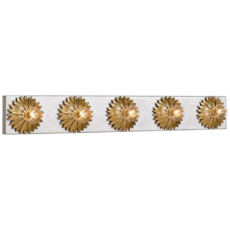 """Broche 31"""" Wide Gold and Antique Silver 5-Light"""