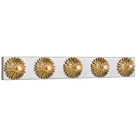 """Broche 31"""" Wide Gold and Antique Silver 5-Light Bath Light"""