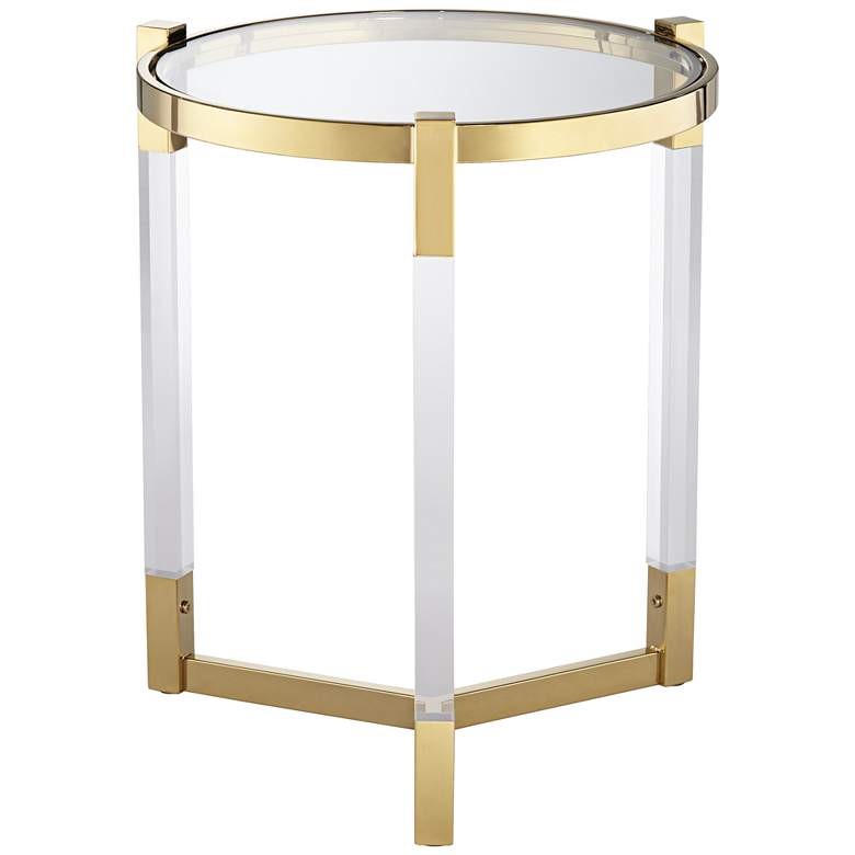 """Darla 19"""" Wide Gold and Acrylic Modern Round Accent Table"""