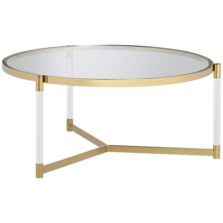 """Stefania 36"""" Wide Gold and Acrylic Modern Coffee Table"""
