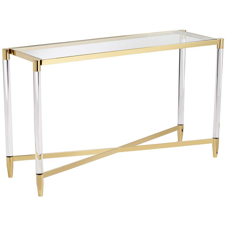 "Stefania 50"" Wide Gold and Acrylic Modern Console Table"