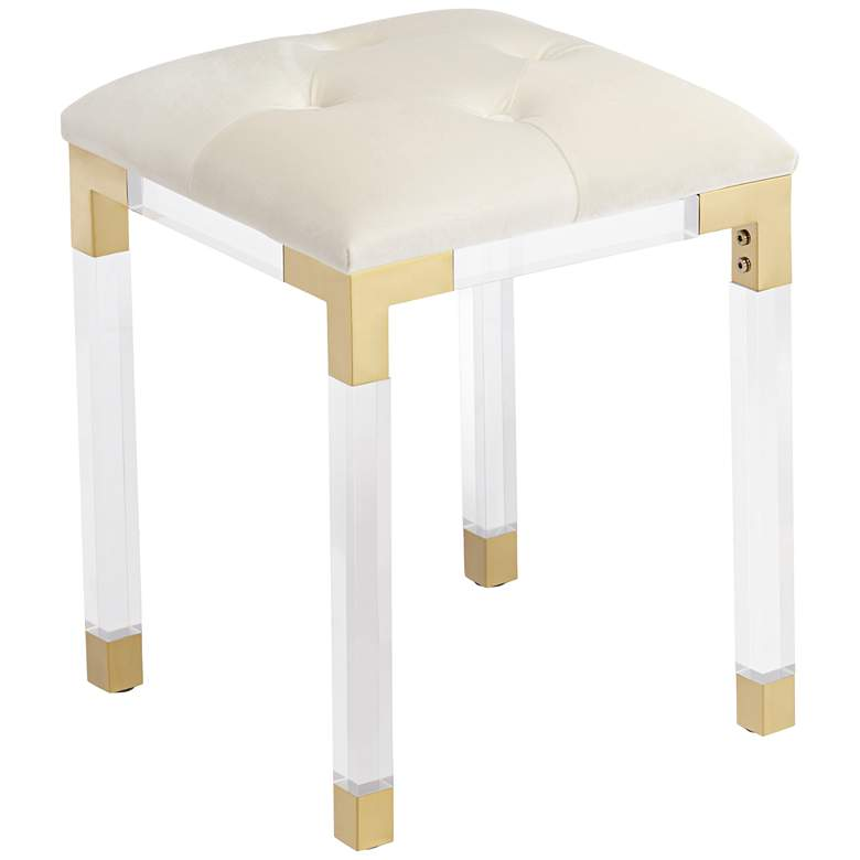 """Stefania 18 1/2"""" High Gold and Acrylic Modern Accent Stool"""
