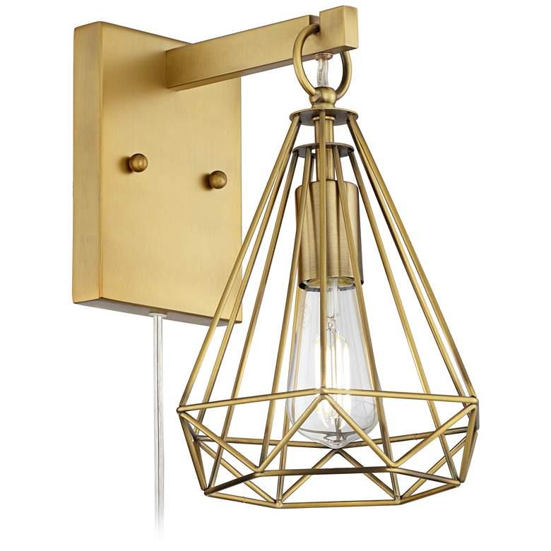 Cecelia Antique Brass Diamond Cage Pin-Up Wall Lamp