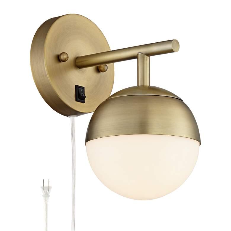 Luna Antique Brass Globe Pin-Up Wall Lamp