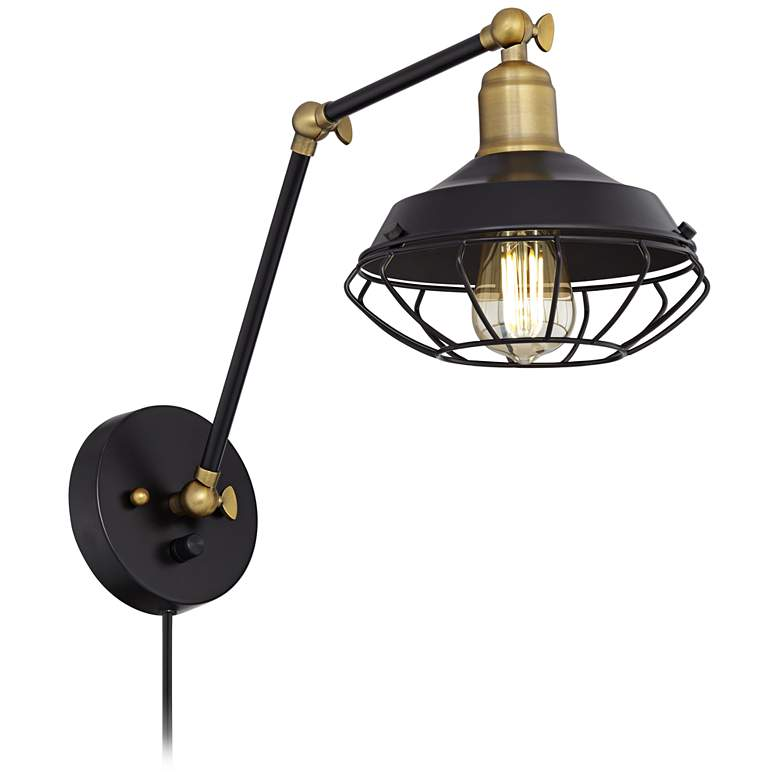 Zelda Matte Black and Gold Industial Cage Wall Lamp