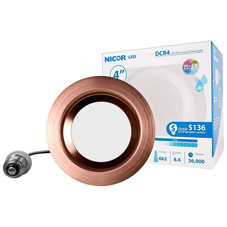 "Nicor DCR 4"" Aged Copper LED Recessed Retrofit Downlight"