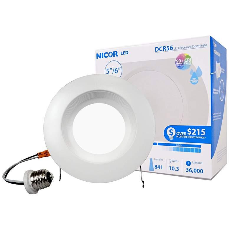 "Nicor DCR 5""/6"" White 10.5W  LED Downlight with Baffle"