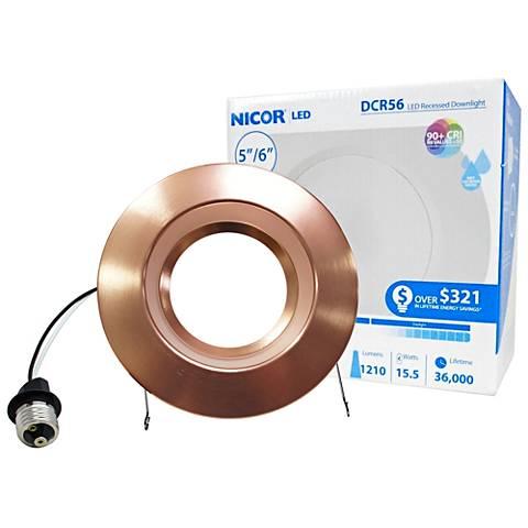 "Nicor DCR 5""/6"" Aged Copper 14.5W LED Retrofit DownLt"