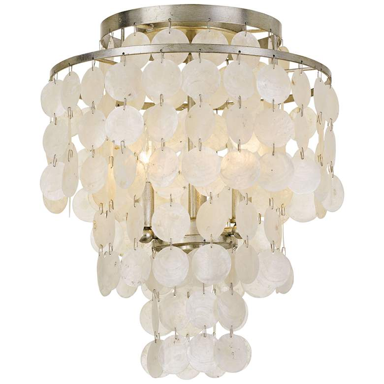 "Crystorama Brielle 13"" Wide Antique Silver Ceiling Light"