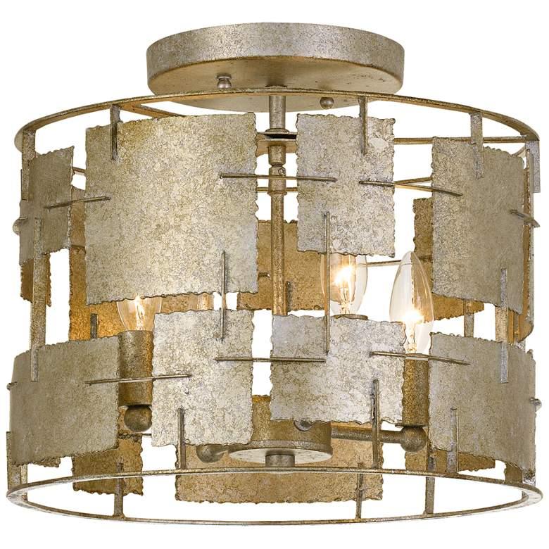 """Crystorama Bronson 14"""" Wide Oxidized Silver Ceiling Light"""