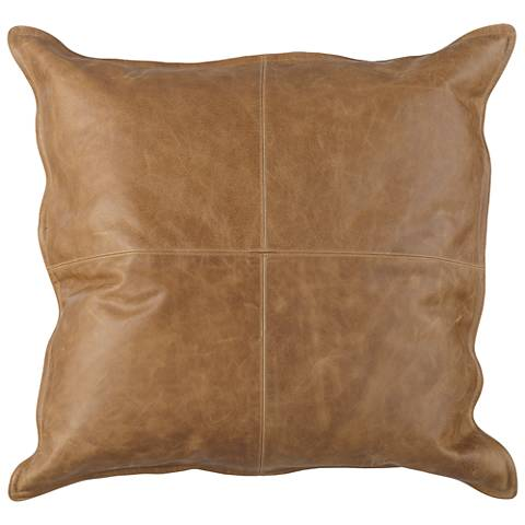 "Dumont Chestnut Leather 22"" Square Throw Pillow"