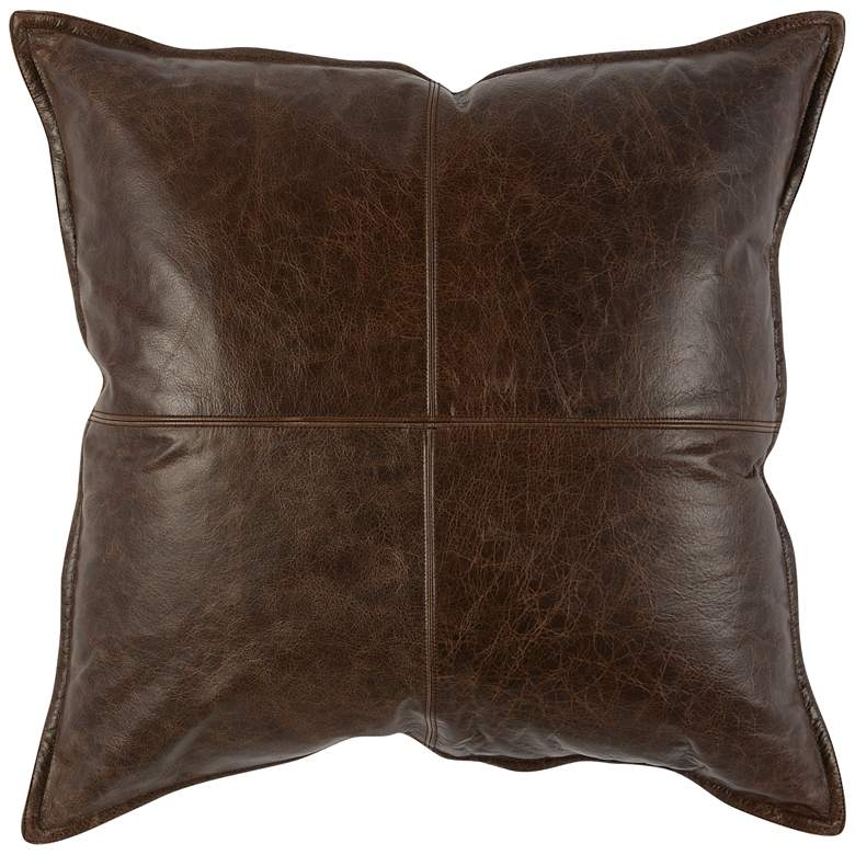 "Chocolate Brown Leather 22"" Square Throw Pillow"
