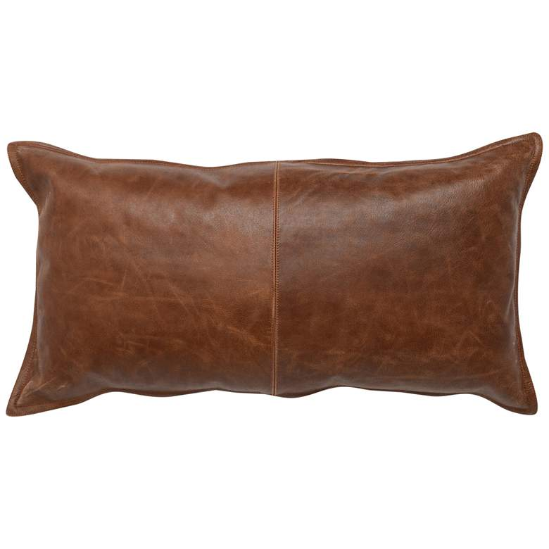 """Brown Leather 26"""" x 14"""" Throw Pillow"""