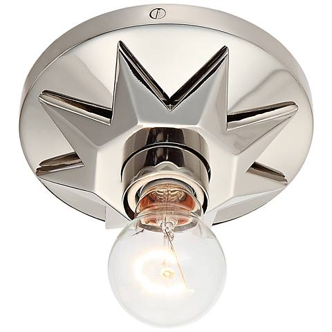 "Crystorama Carson 5"" Wide Polished Nickel Ceiling Light"