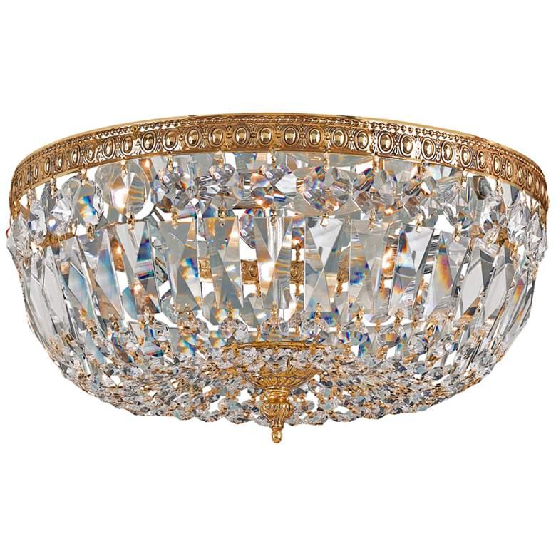 "Ceiling Mount 12""W Olde Brass Italian Crystal Ceiling Light"