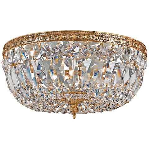 "Ceiling Mount 12""W Olde Brass and Italian Crystal Ceiling Light"