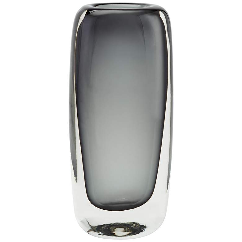 "Glenn 9 1/2"" High Double Layer Gray Glass Vase"