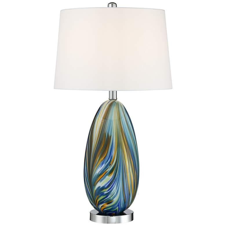 Possini Euro Pablo Blue Art Glass Table Lamp