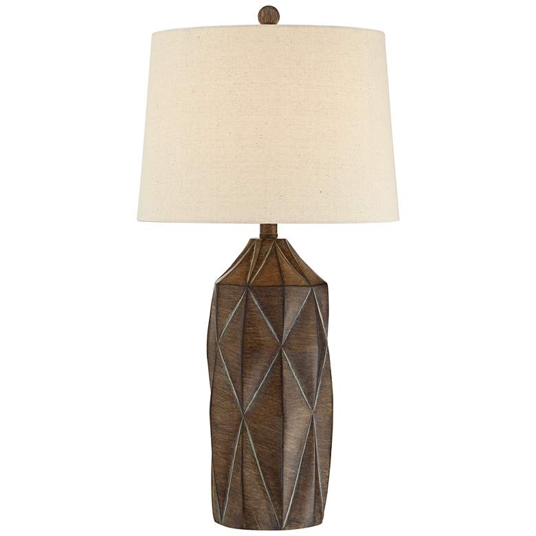 Katy Dark Wood Finish Modern Table Lamp with Oatmeal Shade