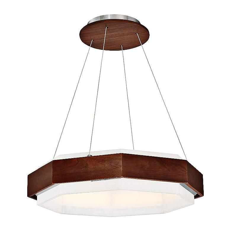 "Modern Forms Koolhaus 28"" Wide Dark Walnut LED Pendant Light"