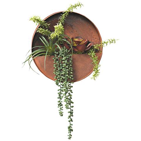 """Succulents 16"""" High Faux Plant in Metal Wall Hanging Planter"""