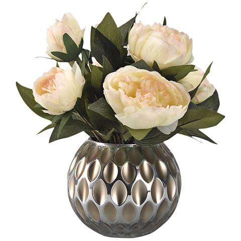 "Cream Peonies 14 1/2"" High Faux Flowers in Glass Vase"