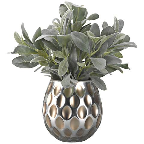 "Frosted Lamb's Ear 18"" Wide Faux Plant in Glass Vase"
