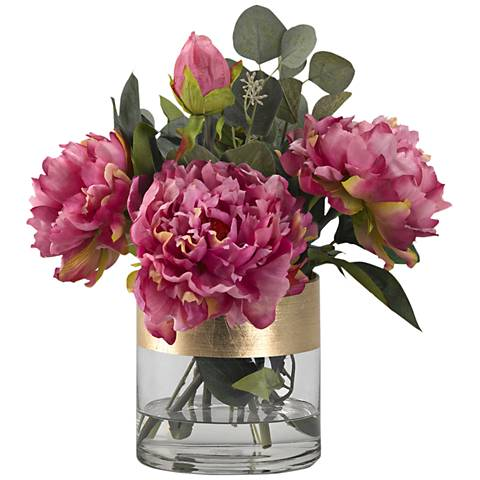"Pink Peonies 15"" High Faux Flowers in Glass Cylinder"