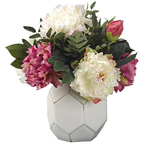 """Pink and Cream Peonies 17 1/2""""W Faux Flowers in Glass Bowl"""