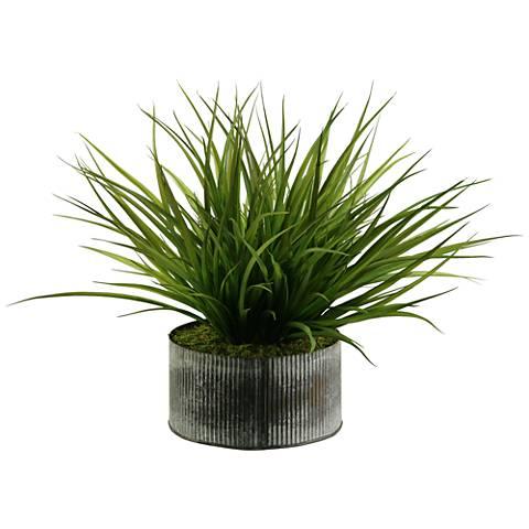 "Wild Grass 18"" High Faux Plant in Round Tin Planter"