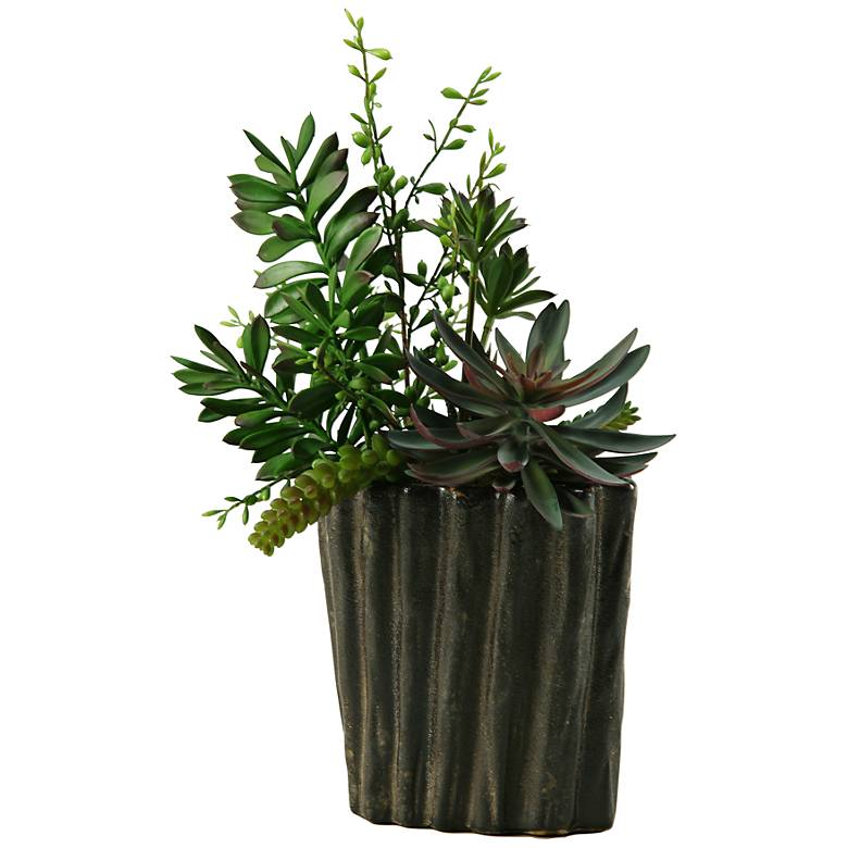 """Mixed Succulents 18 1/2""""H Faux Plant in Oval Ceramic Planter"""