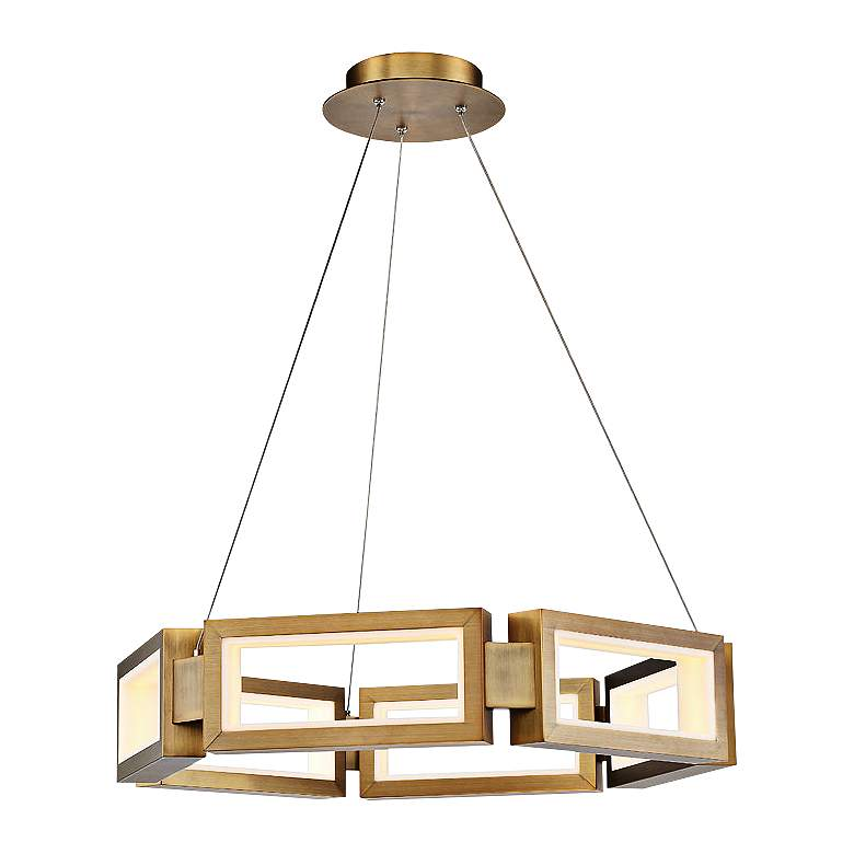 """Modern Forms Mies 29""""W Aged Brass 6-Light LED Chandelier"""