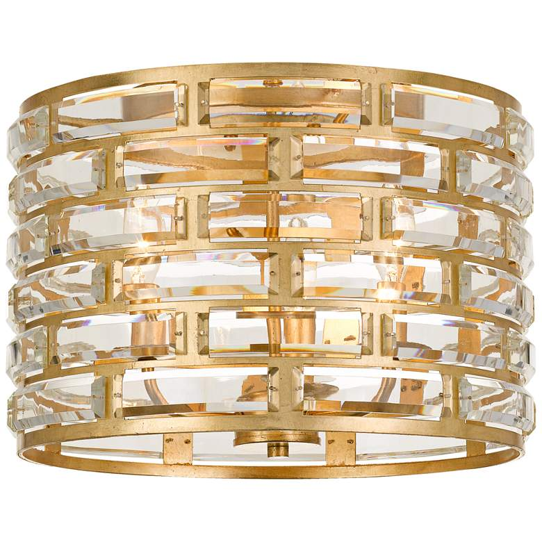 """Meridian 15""""W Gold and Crystal Ceiling Light by Crystorama"""