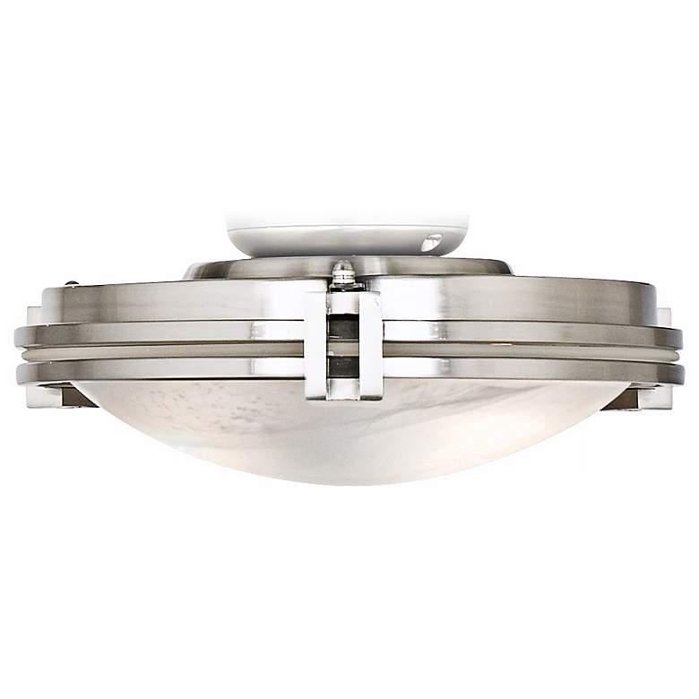 Marbleized Glass Brushed Nickel LED Ceiling Fan Light