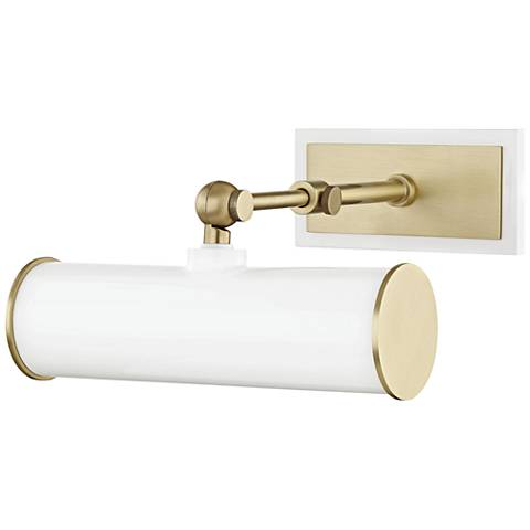 """Mitzi Holly 8 1/4"""" Wide Aged Brass and White Picture Light"""