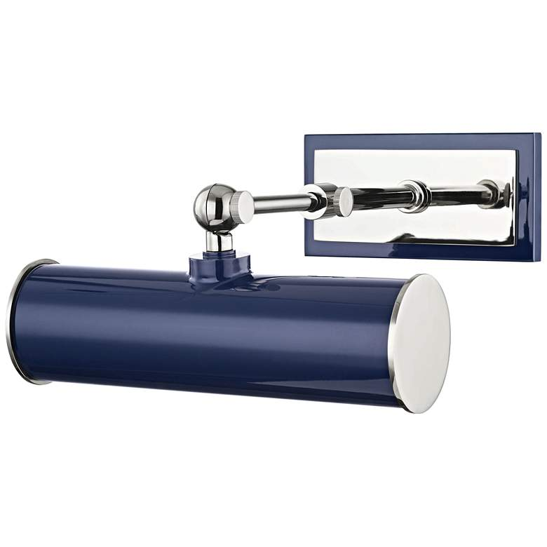 """Mitzi Holly 8 1/4""""W Polished Nickel and Navy Picture Light"""
