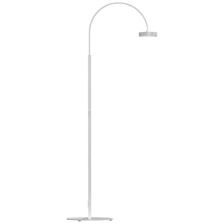 Pluck™ Satin White Small Adjustable LED Arc Floor Lamp