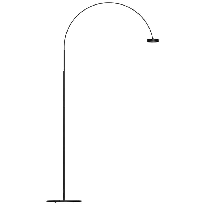 Sonneman Pluck Satin Black LED Modern Arc Floor Lamp