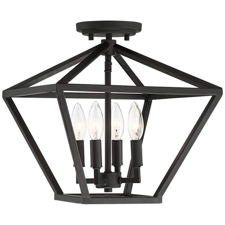 """Ithaca 13"""" Wide Bronze Open Frame 4-Light Ceiling Light"""