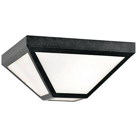 "Glacier 12"" Wide Smoky Black Charcoal Outdoor Ceiling Light"