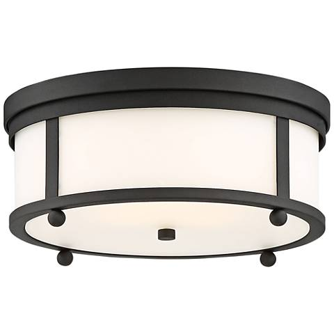 "Sylvan 15"" Wide Matte Black Forged Outdoor Ceiling Light"
