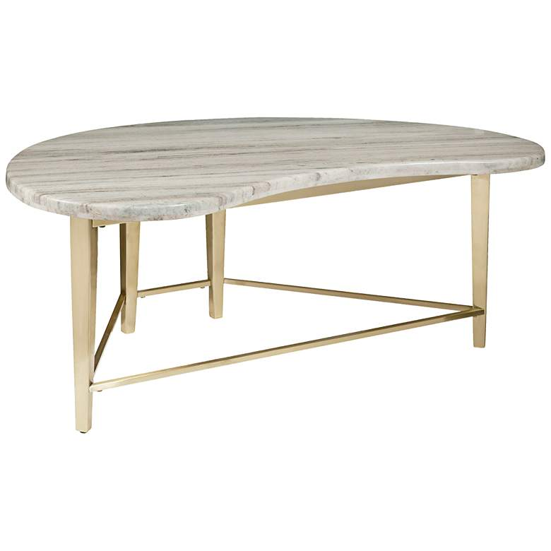 """Bandon 44"""" Wide Kidney-Shaped Carrara Marble Cocktail Table"""