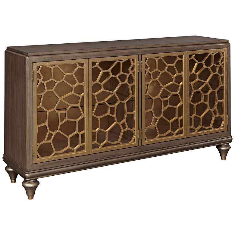 "Isabelle 60"" Wide Pierced Gold Leaf 4-Door Console"