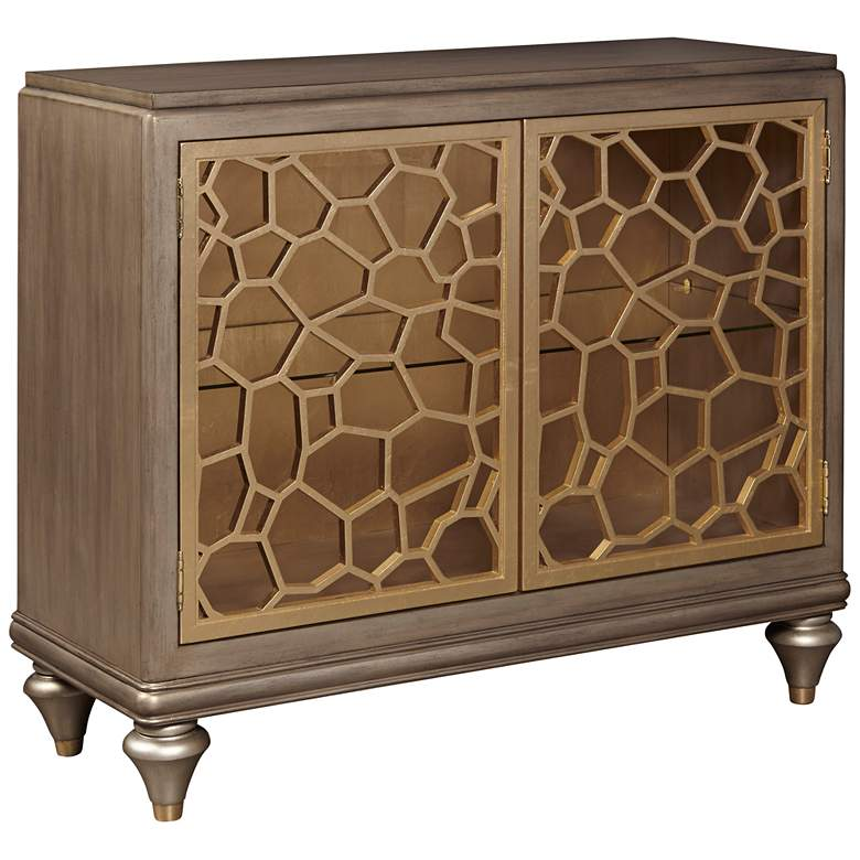 """Isabelle 40"""" Wide Pierced Gold Leaf 2-Door Accent Chest"""