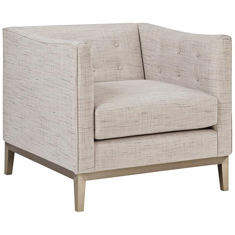 Milan Woven Cream Button Tufted Armchair