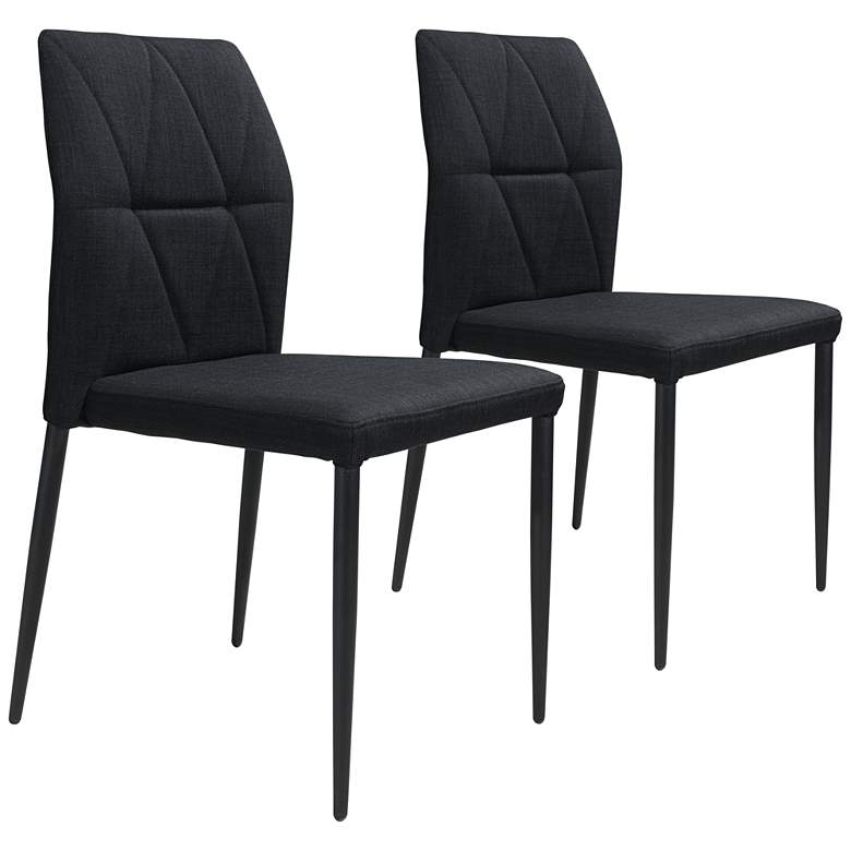 Revolution Black Fabric Dining Chairs Set of 2